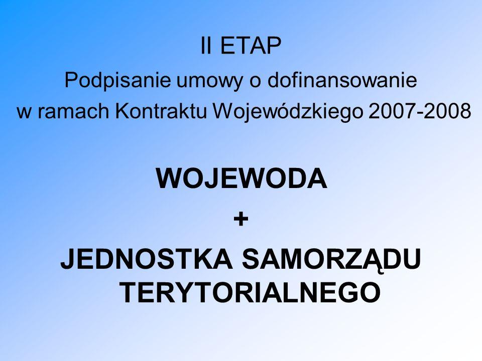 II ETAP Podpisanie umowy o dofinansowanie w ramach Kontraktu Wojewódzkiego 2007-2008 WOJEWODA + JEDNOSTKA SAMORZĄDU TERYTORIALNEGO