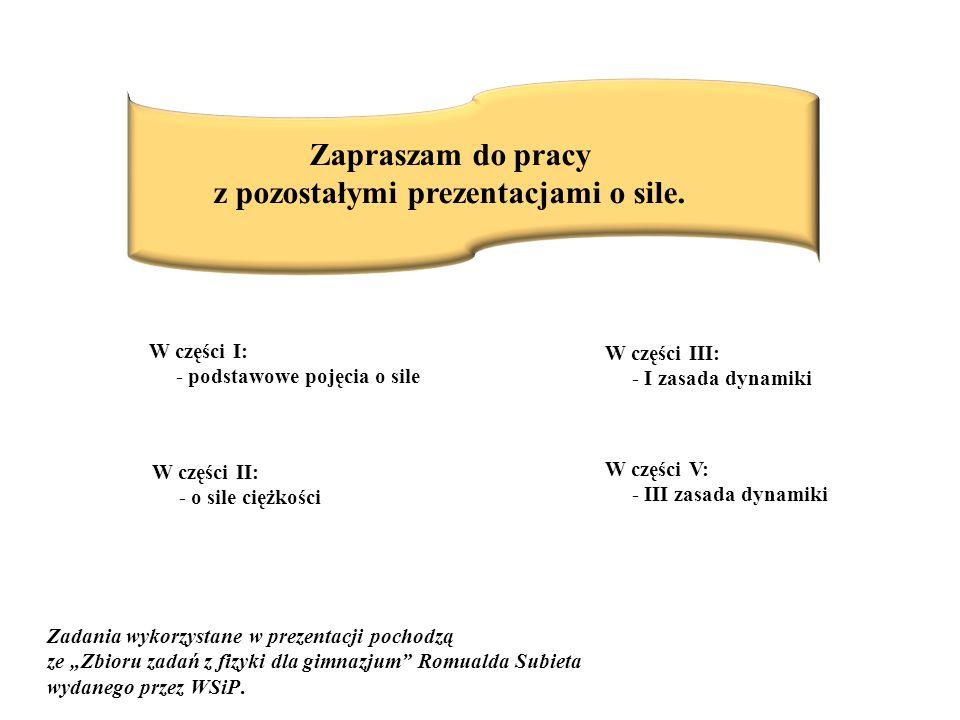 Zapraszam do pracy z pozostałymi prezentacjami o sile. W części I: - podstawowe pojęcia o sile W części II: - o sile ciężkości W części III: - I zasad