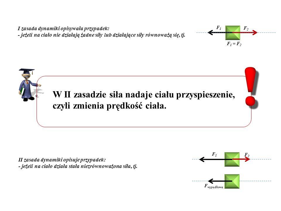 I zasada dynamiki opisywała przypadek: - jeżeli na ciało nie działają żadne siły lub działające siły równoważą się, tj. F 1 = F 2 F1F1 F2F2 W II zasad