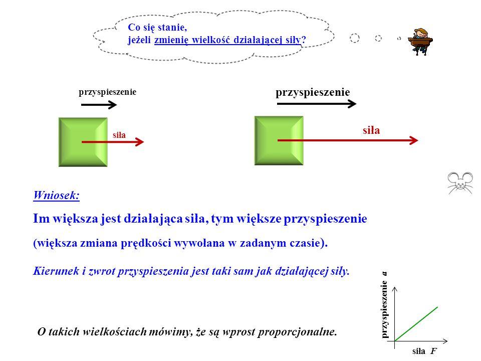 siła przyspieszenie siła przyspieszenie Wniosek: Im większa jest działająca siła, tym większe przyspieszenie (większa zmiana prędkości wywołana w zada