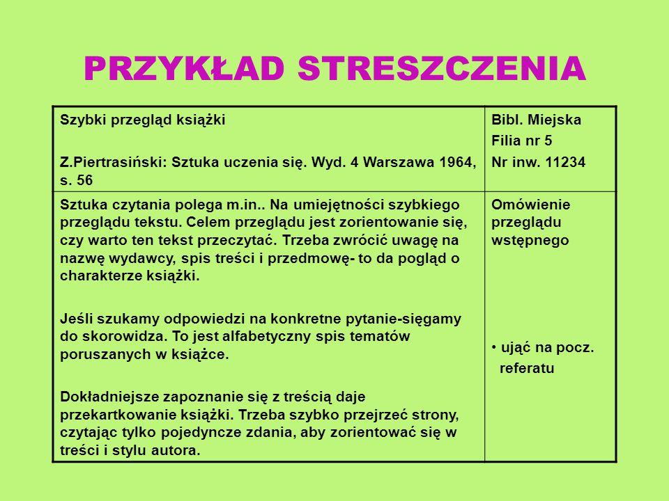 Szybki przegląd książki Z.Piertrasiński: Sztuka uczenia się. Wyd. 4 Warszawa 1964, s. 56 Bibl. Miejska Filia nr 5 Nr inw. 11234 Sztuka czytania polega