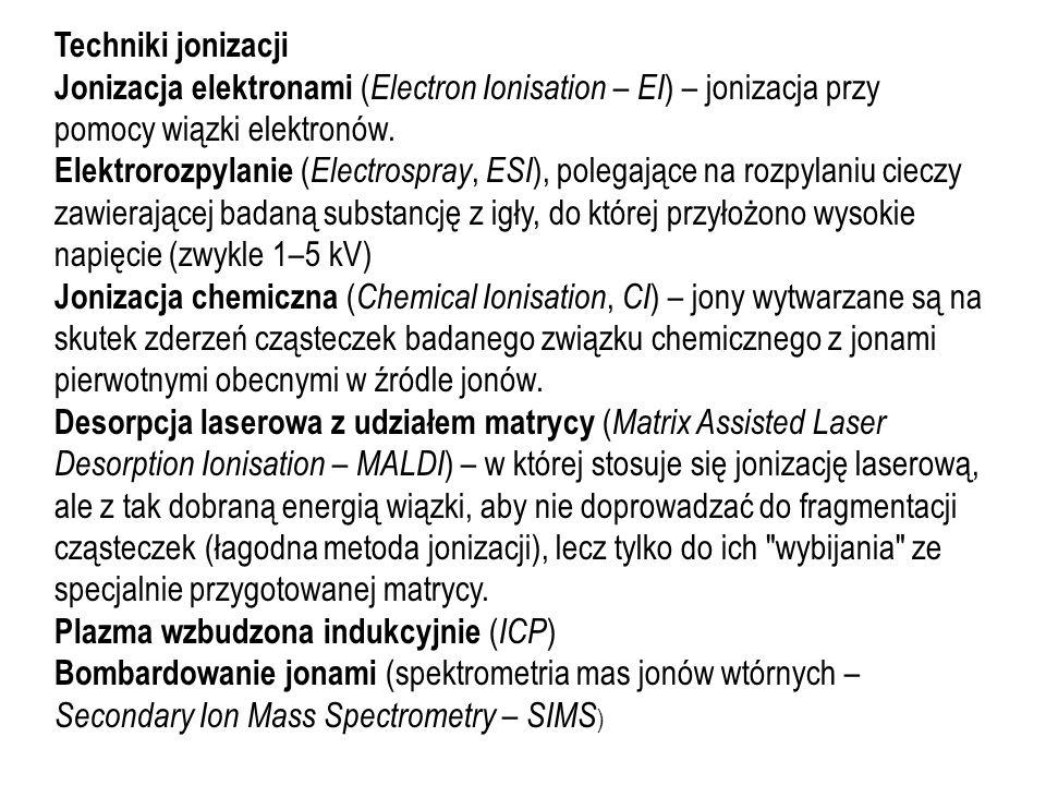 Techniki jonizacji Jonizacja elektronami ( Electron Ionisation – EI ) – jonizacja przy pomocy wiązki elektronów. Elektrorozpylanie ( Electrospray, ESI