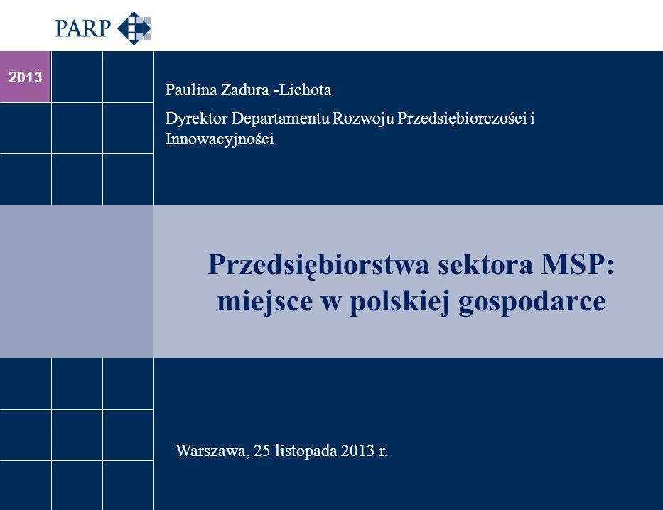 2013 Przedsiębiorstwa sektora MSP: miejsce w polskiej gospodarce Paulina Zadura -Lichota Dyrektor Departamentu Rozwoju Przedsiębiorczości i Innowacyjn