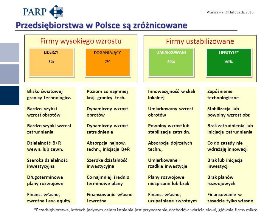 Warszawa, 25 listopada 2013 Firmy ustabilizowane Firmy wysokiego wzrostu Przedsiębiorstwa w Polsce są zróżnicowane UMIARKOWANI 30% UMIARKOWANI 30% LIF