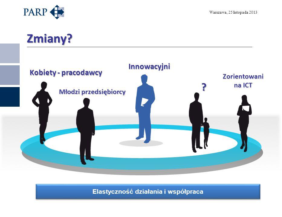 Warszawa, 25 listopada 2013 Zmiany? Kobiety - pracodawcy Młodzi przedsiębiorcy Zorientowani na ICT Innowacyjni Elastyczność działania i współpraca ?