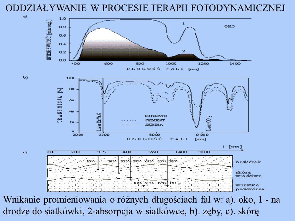 ODDZIAŁYWANIE W PROCESIE TERAPII FOTODYNAMICZNEJ Wnikanie promieniowania o różnych długościach fal w: a). oko, 1 - na drodze do siatkówki, 2-absorpcja