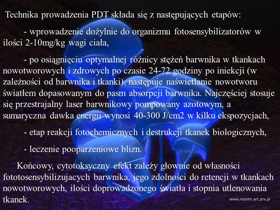 Technika prowadzenia PDT składa się z następujących etapów: - wprowadzenie dożylnie do organizmu fotosensybilizatorów w ilości 2-10mg/kg wagi ciała, -