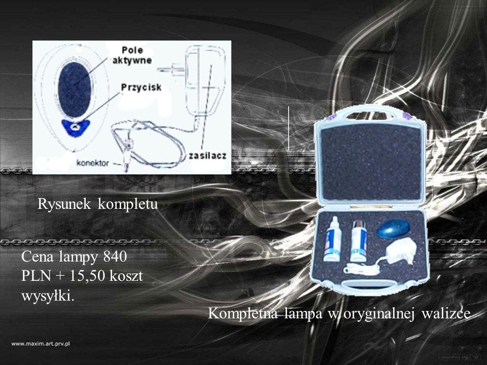 Rysunek kompletu Kompletna lampa w oryginalnej walizce Cena lampy 840 PLN + 15,50 koszt wysyłki.