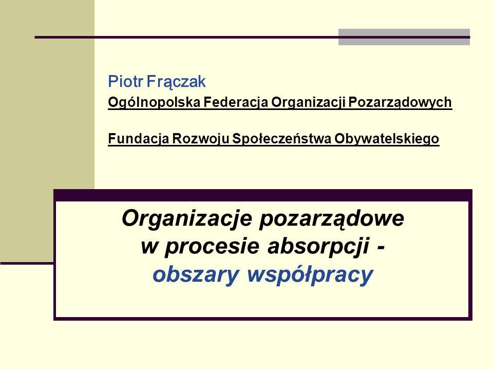 Piotr Frączak Ogólnopolska Federacja Organizacji Pozarządowych Fundacja Rozwoju Społeczeństwa Obywatelskiego Organizacje pozarządowe w procesie absorp