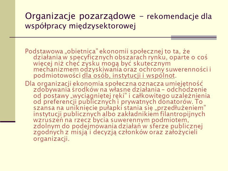 """Organizacje pozarządowe – rekomendacje dla współpracy międzysektorowej Podstawowa """"obietnica"""" ekonomii społecznej to ta, że działania w specyficznych"""