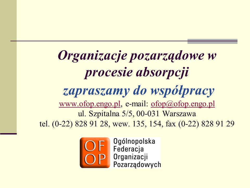 Organizacje pozarządowe w procesie absorpcji zapraszamy do współpracy www.ofop.engo.pl, e-mail: ofop@ofop.engo.pl ul. Szpitalna 5/5, 00-031 Warszawa t