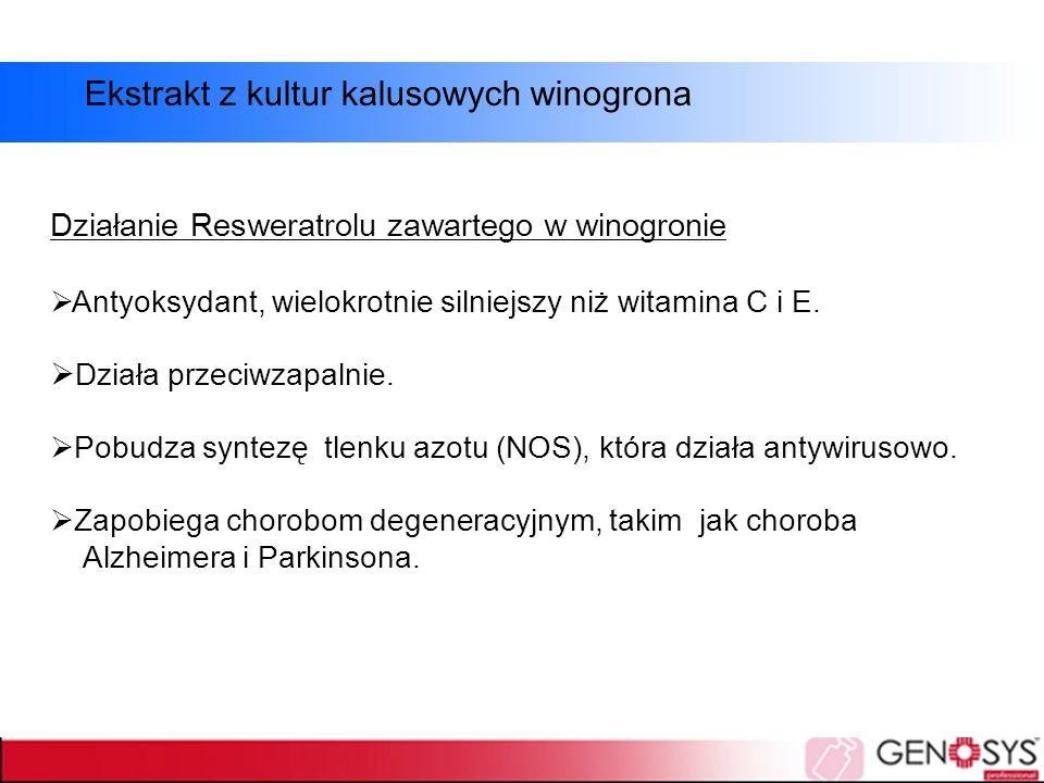 Działanie Resweratrolu zawartego w winogronie  Antyoksydant, wielokrotnie silniejszy niż witamina C i E.  Działa przeciwzapalnie.  Pobudza syntezę