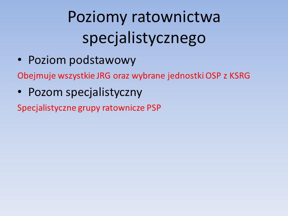 Poziomy ratownictwa specjalistycznego Poziom podstawowy Obejmuje wszystkie JRG oraz wybrane jednostki OSP z KSRG Pozom specjalistyczny Specjalistyczne