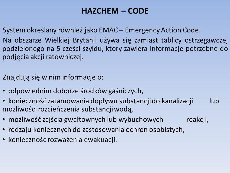 HAZCHEM – CODE System określany również jako EMAC – Emergency Action Code. Na obszarze Wielkiej Brytanii używa się zamiast tablicy ostrzegawczej podzi