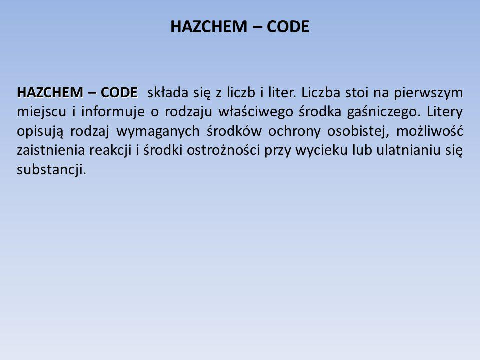 HAZCHEM – CODE HAZCHEM – CODE HAZCHEM – CODE składa się z liczb i liter. Liczba stoi na pierwszym miejscu i informuje o rodzaju właściwego środka gaśn