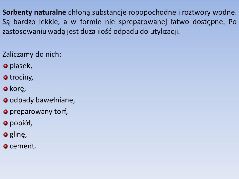 Sorbenty naturalne chłoną substancje ropopochodne i roztwory wodne. Są bardzo lekkie, a w formie nie spreparowanej łatwo dostępne. Po zastosowaniu wad