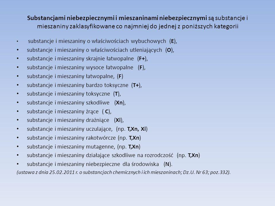 Substancjami niebezpiecznymi i mieszaninami niebezpiecznymi są substancje i mieszaniny zaklasyfikowane co najmniej do jednej z poniższych kategorii su