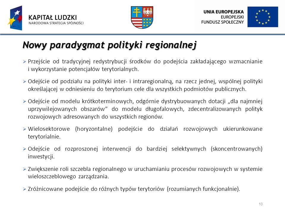 Nowy paradygmat polityki regionalnej  Przejście od tradycyjnej redystrybucji środków do podejścia zakładającego wzmacnianie i wykorzystanie potencjał