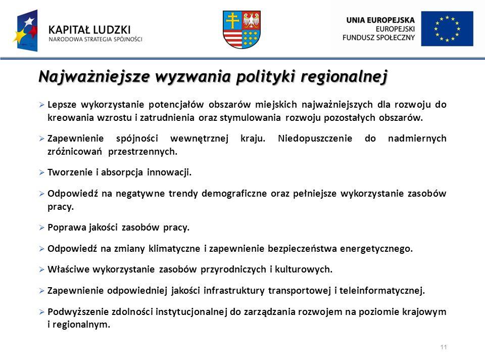 Najważniejsze wyzwania polityki regionalnej  Lepsze wykorzystanie potencjałów obszarów miejskich najważniejszych dla rozwoju do kreowania wzrostu i z