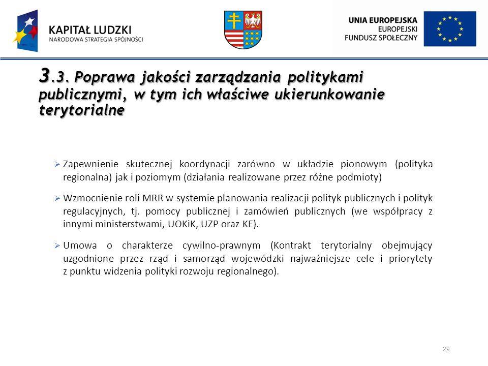 3.3. Poprawa jakości zarządzania politykami publicznymi, w tym ich właściwe ukierunkowanie terytorialne 29  Zapewnienie skutecznej koordynacji zarówn