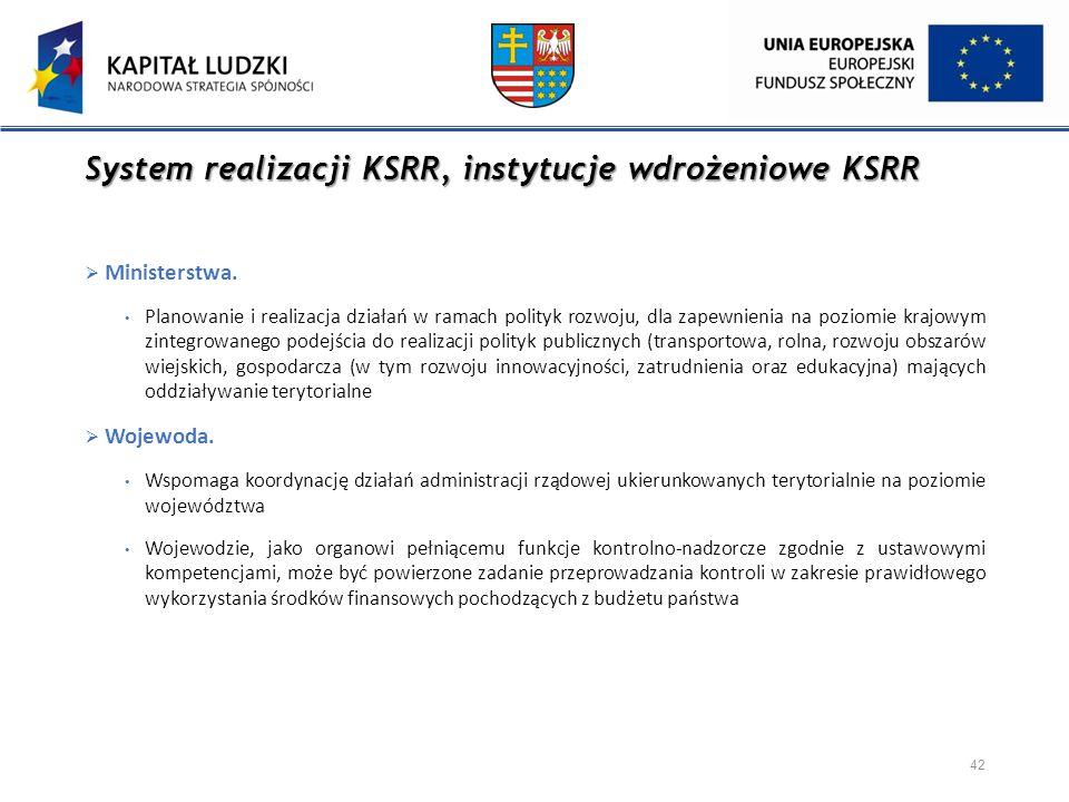System realizacji KSRR, instytucje wdrożeniowe KSRR  Ministerstwa. Planowanie i realizacja działań w ramach polityk rozwoju, dla zapewnienia na pozio