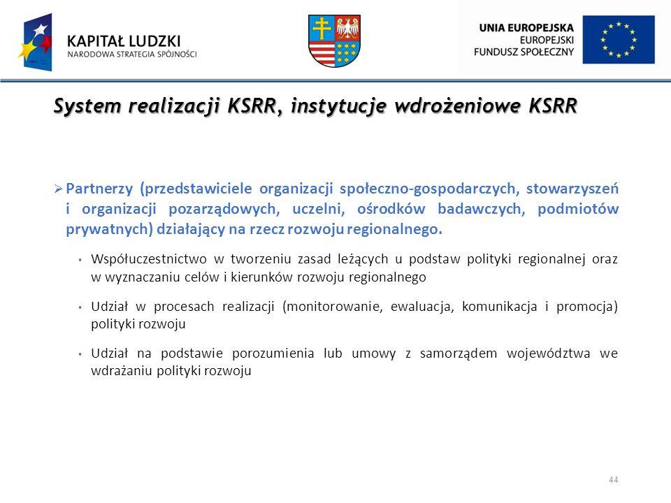 System realizacji KSRR, instytucje wdrożeniowe KSRR  Partnerzy (przedstawiciele organizacji społeczno-gospodarczych, stowarzyszeń i organizacji pozar