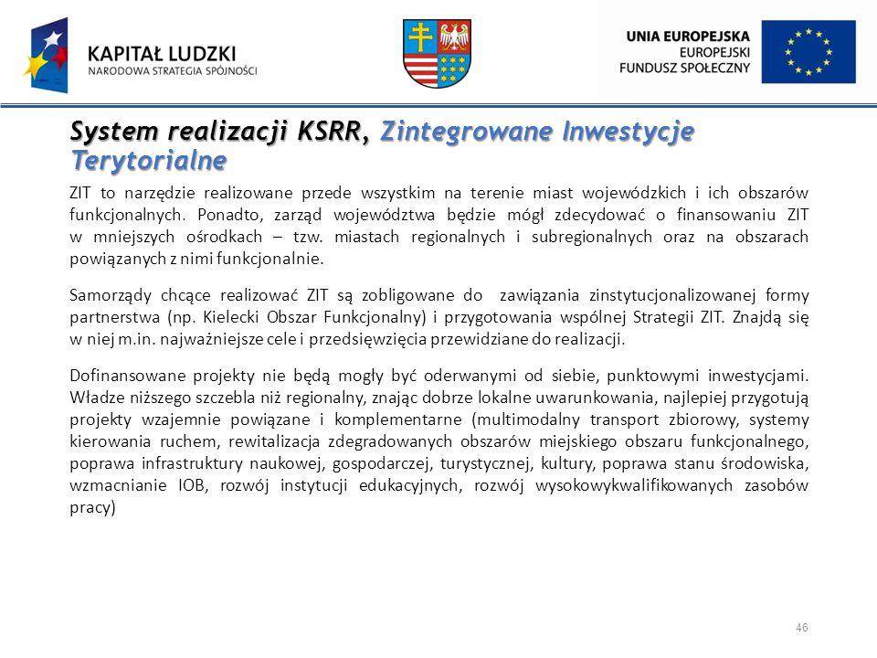 System realizacji KSRR, Zintegrowane Inwestycje Terytorialne ZIT to narzędzie realizowane przede wszystkim na terenie miast wojewódzkich i ich obszaró