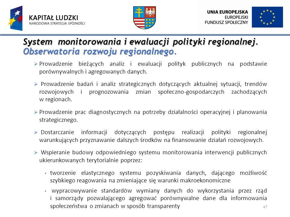 System monitorowania i ewaluacji polityki regionalnej. Obserwatoria rozwoju regionalnego. System monitorowania i ewaluacji polityki regionalnej. Obser