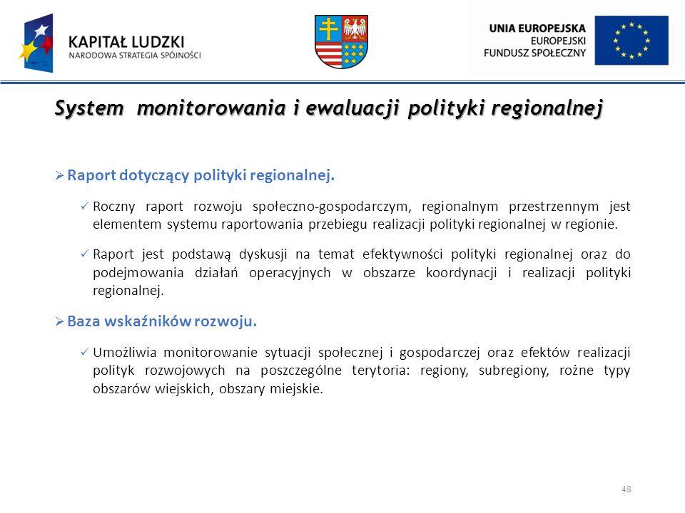 System monitorowania i ewaluacji polityki regionalnej  Raport dotyczący polityki regionalnej. Roczny raport rozwoju społeczno-gospodarczym, regionaln