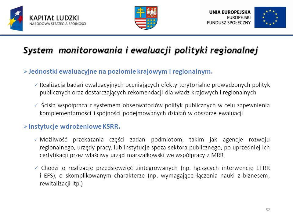 System monitorowania i ewaluacji polityki regionalnej  Jednostki ewaluacyjne na poziomie krajowym i regionalnym. Realizacja badań ewaluacyjnych oceni