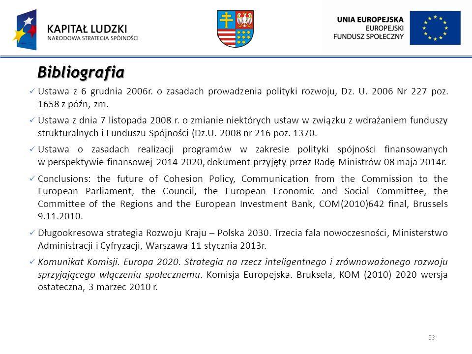 Bibliografia Ustawa z 6 grudnia 2006r. o zasadach prowadzenia polityki rozwoju, Dz. U. 2006 Nr 227 poz. 1658 z późn, zm. Ustawa z dnia 7 listopada 200
