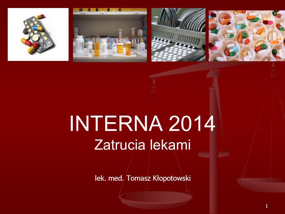 1 INTERNA 2014 Zatrucia lekami lek. med. Tomasz Kłopotowski