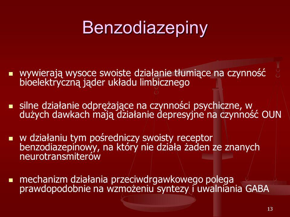 13 Benzodiazepiny wywierają wysoce swoiste działanie tłumiące na czynność bioelektryczną jąder układu limbicznego silne działanie odprężające na czynności psychiczne, w dużych dawkach mają działanie depresyjne na czynność OUN w działaniu tym pośredniczy swoisty receptor benzodiazepinowy, na który nie działa żaden ze znanych neurotransmiterów mechanizm działania przeciwdrgawkowego polega prawdopodobnie na wzmożeniu syntezy i uwalniania GABA