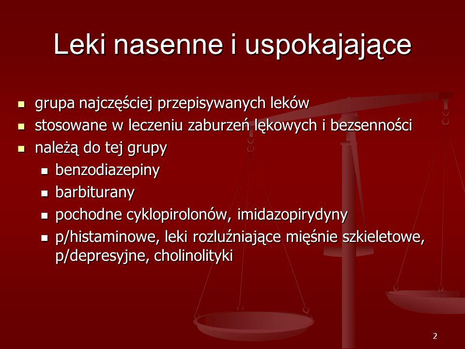 2 Leki nasenne i uspokajające grupa najczęściej przepisywanych leków grupa najczęściej przepisywanych leków stosowane w leczeniu zaburzeń lękowych i bezsenności stosowane w leczeniu zaburzeń lękowych i bezsenności należą do tej grupy należą do tej grupy benzodiazepiny benzodiazepiny barbiturany barbiturany pochodne cyklopirolonów, imidazopirydyny pochodne cyklopirolonów, imidazopirydyny p/histaminowe, leki rozluźniające mięśnie szkieletowe, p/depresyjne, cholinolityki p/histaminowe, leki rozluźniające mięśnie szkieletowe, p/depresyjne, cholinolityki