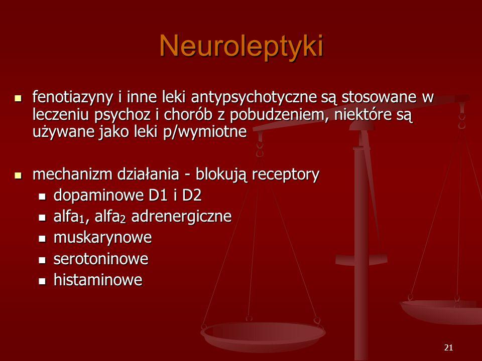 21 Neuroleptyki fenotiazyny i inne leki antypsychotyczne są stosowane w leczeniu psychoz i chorób z pobudzeniem, niektóre są używane jako leki p/wymiotne fenotiazyny i inne leki antypsychotyczne są stosowane w leczeniu psychoz i chorób z pobudzeniem, niektóre są używane jako leki p/wymiotne mechanizm działania - blokują receptory mechanizm działania - blokują receptory dopaminowe D1 i D2 dopaminowe D1 i D2 alfa 1, alfa 2 adrenergiczne alfa 1, alfa 2 adrenergiczne muskarynowe muskarynowe serotoninowe serotoninowe histaminowe histaminowe