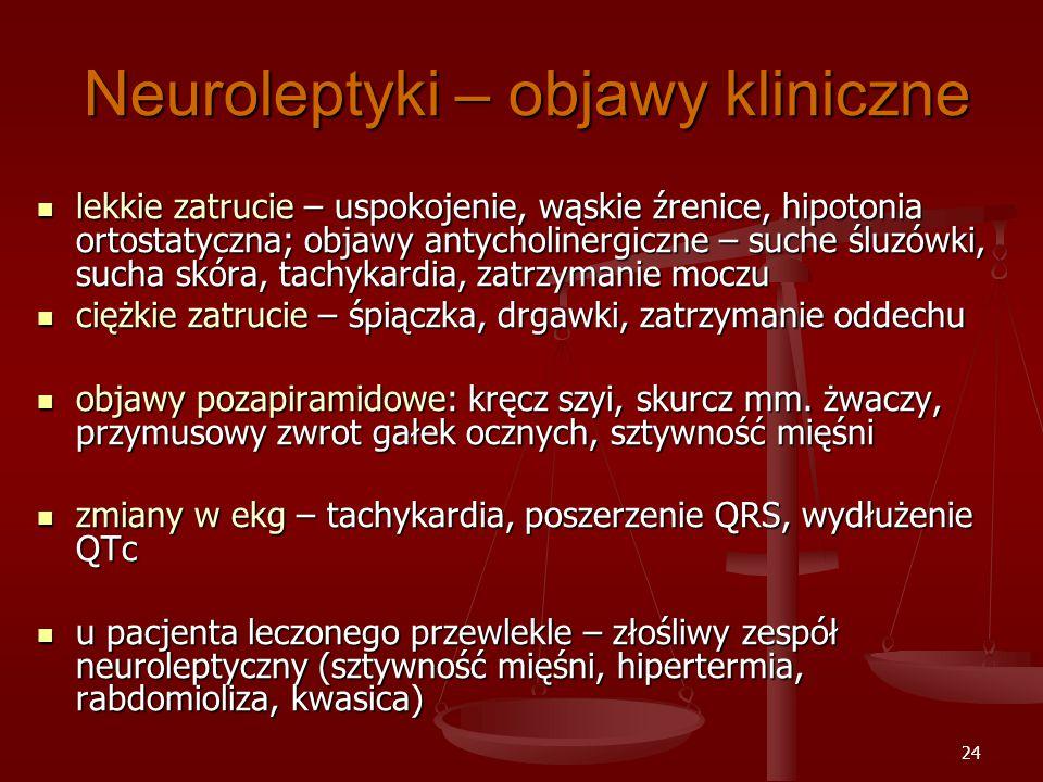 24 Neuroleptyki – objawy kliniczne lekkie zatrucie – uspokojenie, wąskie źrenice, hipotonia ortostatyczna; objawy antycholinergiczne – suche śluzówki, sucha skóra, tachykardia, zatrzymanie moczu lekkie zatrucie – uspokojenie, wąskie źrenice, hipotonia ortostatyczna; objawy antycholinergiczne – suche śluzówki, sucha skóra, tachykardia, zatrzymanie moczu ciężkie zatrucie – śpiączka, drgawki, zatrzymanie oddechu ciężkie zatrucie – śpiączka, drgawki, zatrzymanie oddechu objawy pozapiramidowe: kręcz szyi, skurcz mm.