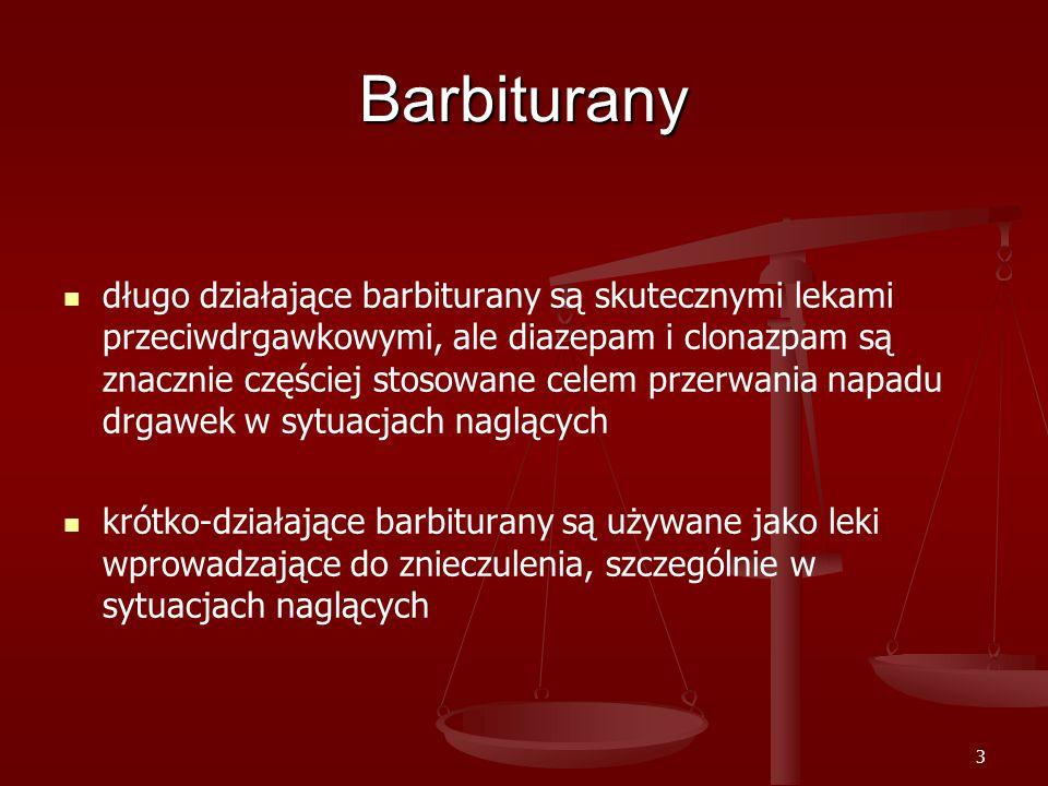 3 Barbiturany długo działające barbiturany są skutecznymi lekami przeciwdrgawkowymi, ale diazepam i clonazpam są znacznie częściej stosowane celem przerwania napadu drgawek w sytuacjach naglących krótko-działające barbiturany są używane jako leki wprowadzające do znieczulenia, szczególnie w sytuacjach naglących