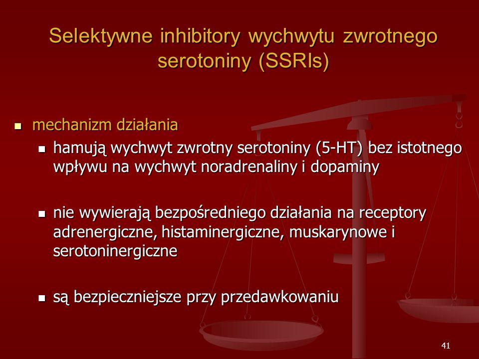 41 Selektywne inhibitory wychwytu zwrotnego serotoniny (SSRIs) mechanizm działania mechanizm działania hamują wychwyt zwrotny serotoniny (5-HT) bez istotnego wpływu na wychwyt noradrenaliny i dopaminy hamują wychwyt zwrotny serotoniny (5-HT) bez istotnego wpływu na wychwyt noradrenaliny i dopaminy nie wywierają bezpośredniego działania na receptory adrenergiczne, histaminergiczne, muskarynowe i serotoninergiczne nie wywierają bezpośredniego działania na receptory adrenergiczne, histaminergiczne, muskarynowe i serotoninergiczne są bezpieczniejsze przy przedawkowaniu są bezpieczniejsze przy przedawkowaniu