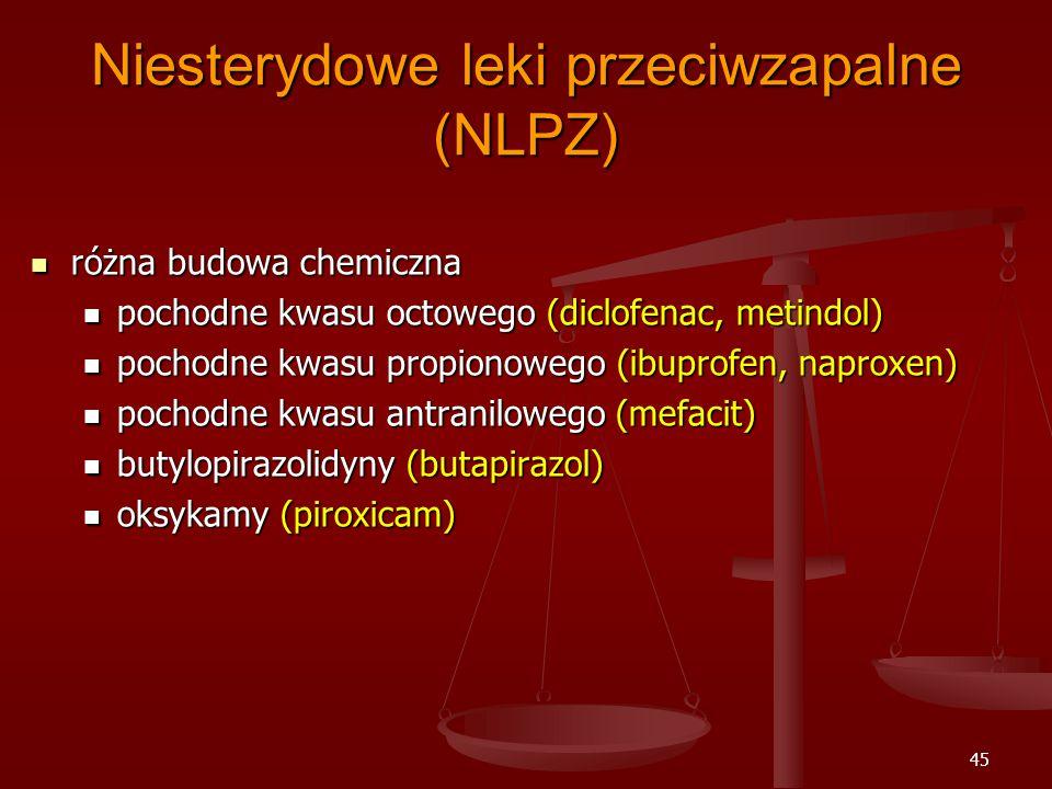 45 Niesterydowe leki przeciwzapalne (NLPZ) różna budowa chemiczna różna budowa chemiczna pochodne kwasu octowego (diclofenac, metindol) pochodne kwasu octowego (diclofenac, metindol) pochodne kwasu propionowego (ibuprofen, naproxen) pochodne kwasu propionowego (ibuprofen, naproxen) pochodne kwasu antranilowego (mefacit) pochodne kwasu antranilowego (mefacit) butylopirazolidyny (butapirazol) butylopirazolidyny (butapirazol) oksykamy (piroxicam) oksykamy (piroxicam)