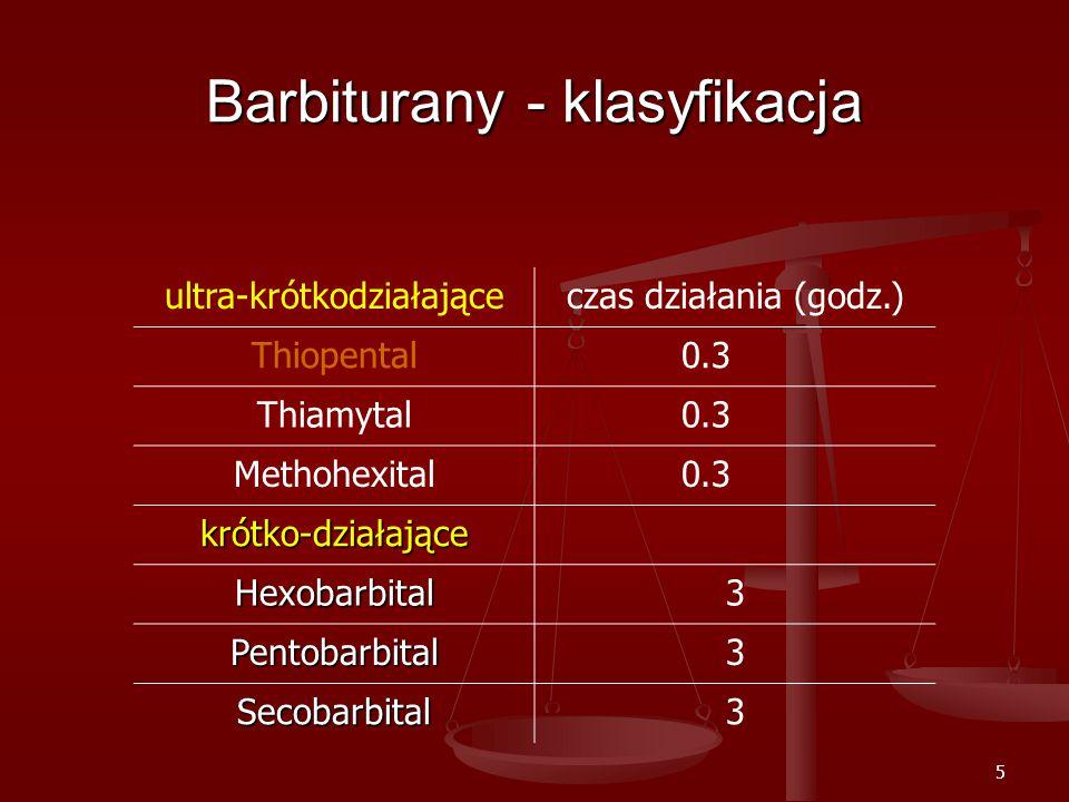 5 Barbiturany - klasyfikacja ultra-krótkodziałająceczas działania (godz.) Thiopental0.3 Thiamytal0.3 Methohexital0.3 krótko-działające Hexobarbital3 Pentobarbital3 Secobarbital3