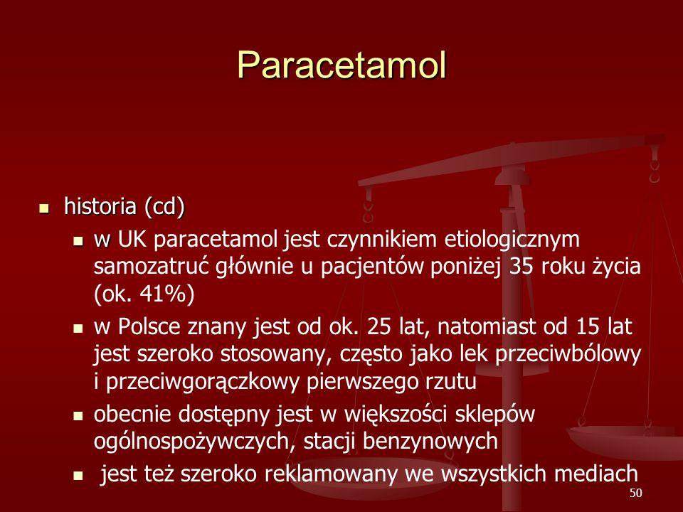 50 Paracetamol historia (cd) historia (cd) w w UK paracetamol jest czynnikiem etiologicznym samozatruć głównie u pacjentów poniżej 35 roku życia (ok.