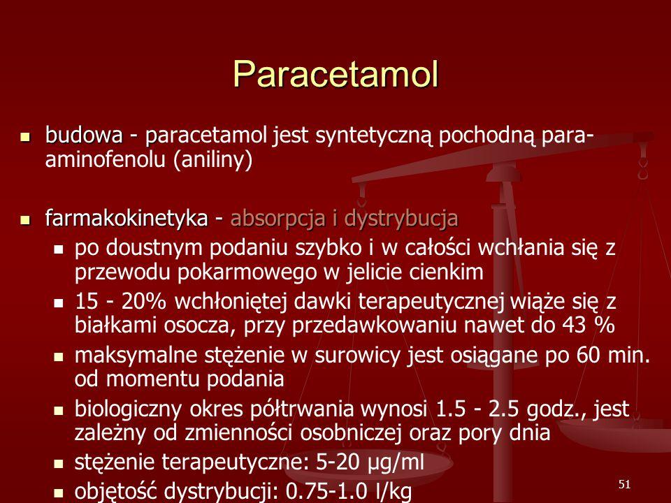 51 Paracetamol budowa - p budowa - paracetamol jest syntetyczną pochodną para- aminofenolu (aniliny) farmakokinetyka - absorpcja i dystrybucja farmakokinetyka - absorpcja i dystrybucja po doustnym podaniu szybko i w całości wchłania się z przewodu pokarmowego w jelicie cienkim 15 - 20% wchłoniętej dawki terapeutycznej wiąże się z białkami osocza, przy przedawkowaniu nawet do 43 % maksymalne stężenie w surowicy jest osiągane po 60 min.