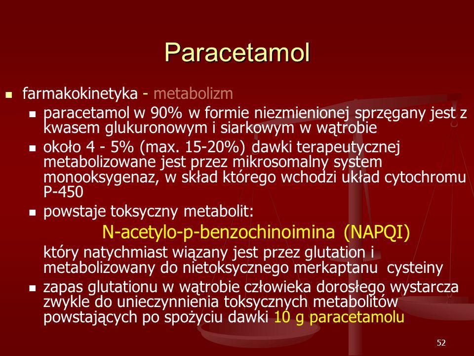 52 Paracetamol farmakokinetyka - metabolizm paracetamol w 90% w formie niezmienionej sprzęgany jest z kwasem glukuronowym i siarkowym w wątrobie około 4 - 5% (max.