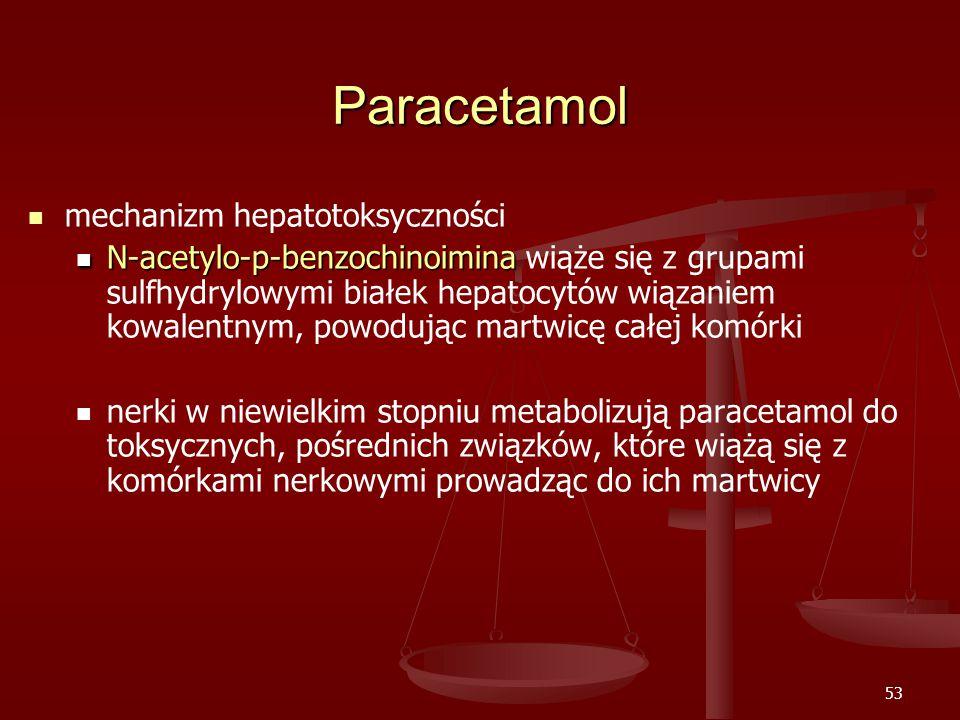 53 Paracetamol mechanizm hepatotoksyczności N-acetylo-p-benzochinoimina N-acetylo-p-benzochinoimina wiąże się z grupami sulfhydrylowymi białek hepatocytów wiązaniem kowalentnym, powodując martwicę całej komórki nerki w niewielkim stopniu metabolizują paracetamol do toksycznych, pośrednich związków, które wiążą się z komórkami nerkowymi prowadząc do ich martwicy