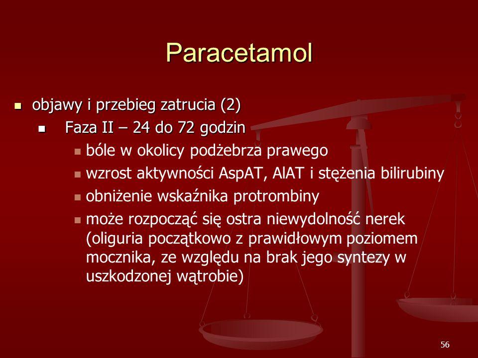 56 Paracetamol objawy i przebieg zatrucia (2) objawy i przebieg zatrucia (2) Faza II – 24 do 72 godzin Faza II – 24 do 72 godzin bóle w okolicy podżebrza prawego wzrost aktywności AspAT, AlAT i stężenia bilirubiny obniżenie wskaźnika protrombiny może rozpocząć się ostra niewydolność nerek (oliguria początkowo z prawidłowym poziomem mocznika, ze względu na brak jego syntezy w uszkodzonej wątrobie)