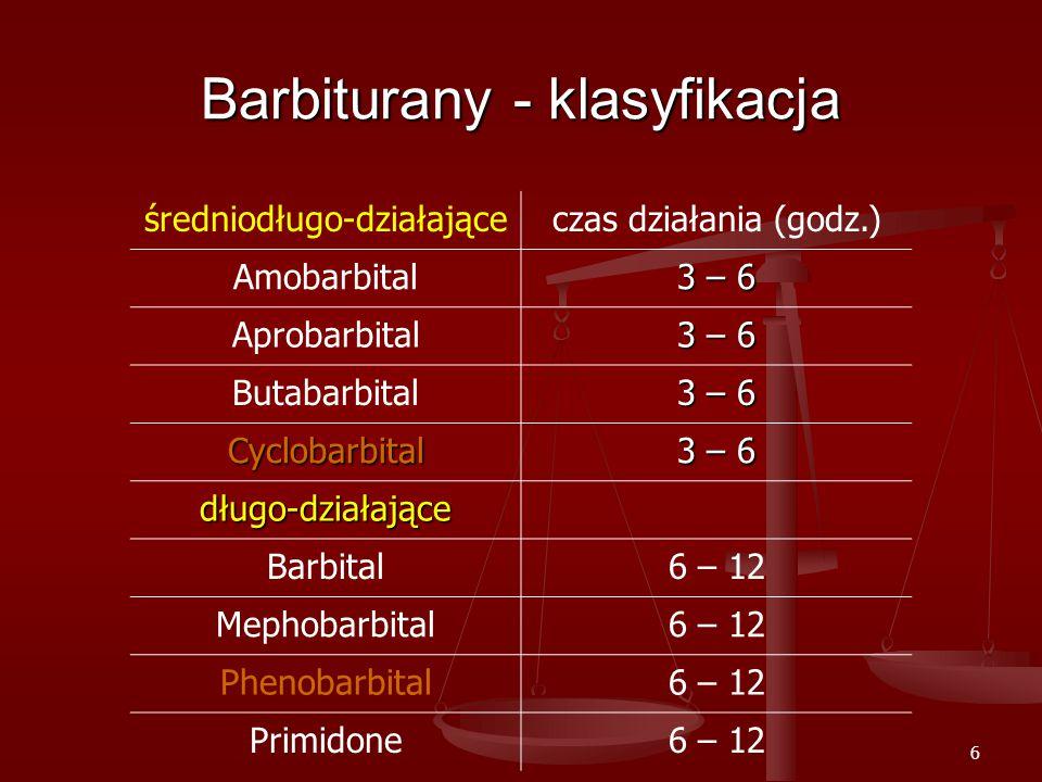 6 Barbiturany - klasyfikacja średniodługo-działająceczas działania (godz.) Amobarbital 3 – 6 Aprobarbital 3 – 6 Butabarbital 3 – 6 Cyclobarbital długo-działające Barbital6 – 12 Mephobarbital6 – 12 Phenobarbital6 – 12 Primidone6 – 12