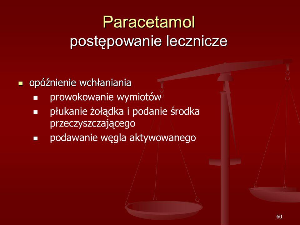 60 Paracetamol postępowanie lecznicze opóźnienie wchłaniania opóźnienie wchłaniania prowokowanie wymiotów płukanie żołądka i podanie środka przeczyszczającego podawanie węgla aktywowanego