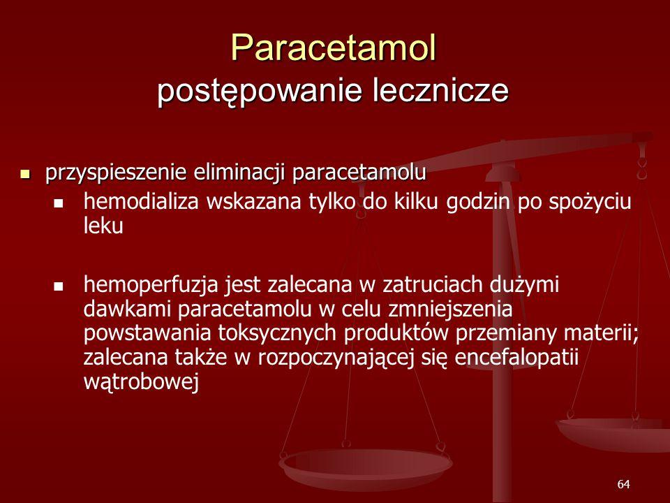64 Paracetamol postępowanie lecznicze przyspieszenie eliminacji paracetamolu przyspieszenie eliminacji paracetamolu hemodializa wskazana tylko do kilku godzin po spożyciu leku hemoperfuzja jest zalecana w zatruciach dużymi dawkami paracetamolu w celu zmniejszenia powstawania toksycznych produktów przemiany materii; zalecana także w rozpoczynającej się encefalopatii wątrobowej