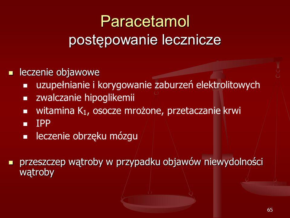 65 Paracetamol postępowanie lecznicze leczenie objawowe leczenie objawowe uzupełnianie i korygowanie zaburzeń elektrolitowych zwalczanie hipoglikemii witamina K 1, osocze mrożone, przetaczanie krwi IPP leczenie obrzęku mózgu przeszczep wątroby w przypadku objawów niewydolności wątroby przeszczep wątroby w przypadku objawów niewydolności wątroby