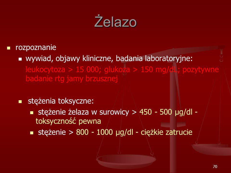 70 Żelazo rozpoznanie wywiad, objawy kliniczne, badania laboratoryjne: leukocytoza > 15 000; glukoza > 150 mg/dL; pozytywne badanie rtg jamy brzusznej stężenia toksyczne: stężenie żelaza w surowicy > 450 - 500 μg/dl - toksyczność pewna stężenie > 800 - 1000 μg/dl - ciężkie zatrucie
